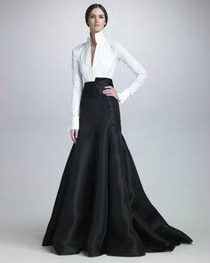 Donna Karan  Stretch Taffeta Bodysuit, Long Gazar Evening Skirt & Satin Cummerbund Belt  A look from the Fall 2012 Collection