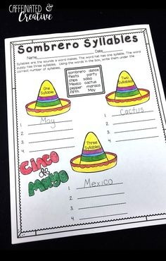 Ole! Sombrero Syllables is a fun way to have students practice deciphering syllables. This is part of a Spring Literacy and Math No Prep Bundle for Second Grade that is full of no prep ELA and math printables for the entire season! This unit covers spring, St. Patrick's Day, Easter, Earth Day and Cinco de Mayo!