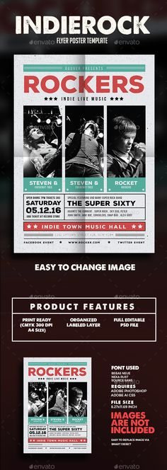Indie Rock Flyer Template PSD, Vector AI. Download here: http://graphicriver.net/item/indie-rock-flyer/14815874?ref=ksioks