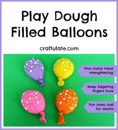 Play Dough Filled Balloons - great for fine motor hand strengthening and fidgets! Play Therapy Activities, Fine Motor Activities For Kids, Eyfs Activities, Therapy Games, Motor Skills Activities, Fine Motor Skills, Speech Therapy, Finger Gym, Funky Fingers