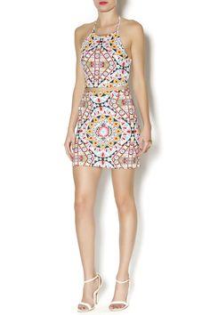 Elastic waist tight mini skirt with geo print