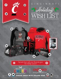 Cincinnati Holiday Wish List by College Colors! Mager Senft Bearcats Pavao Weinstein of Cincinnati Cincinnati Bearcats, University Of Cincinnati, Holiday Wishes, Holiday Gift Guide, Nebraska Football, Holidays To Mexico, Louisville Cardinals, New Mexico, Cheer