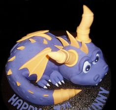 sculptured cake of spyro the dragon for kids birthday, made by Nada's Cakes in Canberra