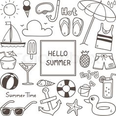 Summer Doodles. Summer Icon Set. Hand Drawn Doodle Icon. | Stock Vector | Colourbox on Colourbox