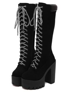 SheIn offers Black Chunky Heel Hidden Platform Boots & more to fit your fashionable needs. Edgy Outfits, Teen Fashion Outfits, Grunge Outfits, Cute Casual Outfits, Punk Rock Outfits, Dr Shoes, Goth Shoes, Me Too Shoes, Kawaii Shoes