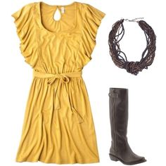 Mustard Dress, brown riding boots, created by savannahkenney on Polyvore