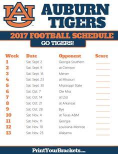 Printable Aubur Tigers Football Schedule
