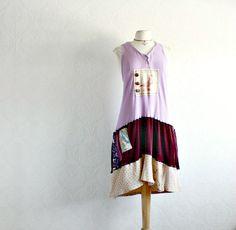 Plus Size Bohemian Dress 1X 2X Slouchy by BrokenGhostClothing,