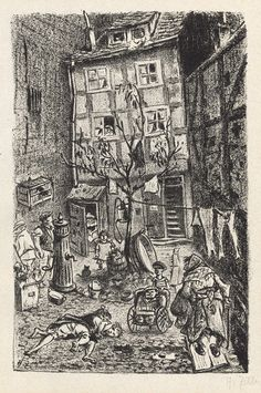Heinrich Zille,  Hof im Scheunenviertel