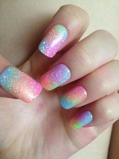 Al mal tiempo, uñas lindas🥰💅 Rainbow Nail Art Designs, Unicorn Nails Designs, Ombre Nail Designs, Cute Nail Designs, Nail Designs For Kids, Easy Designs, Long Nail Designs, Blog Designs, Pretty Designs