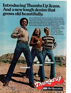 1977 Advertisement Sears Thumbs Up Jeans Tough 70s Womens Mens