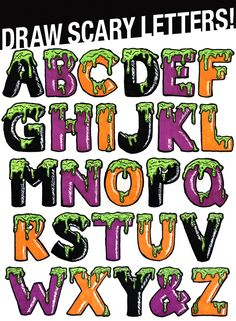 Fonts Alphabet Discover Draw Scary Letters for Halloween! Learn step by step how to draw these Halloween slime letters easy! Graffiti Lettering Alphabet, Hand Lettering Fonts, Creative Lettering, Cool Lettering, Lettering Design, Bullet Journal Art, Bullet Journal Ideas Pages, Graffiti Pictures, Handwriting Alphabet