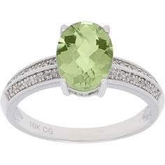 Color 10k White Gold 1/8ct TDW Diamond and Gemstone Ring (G-H, I1-I2) (