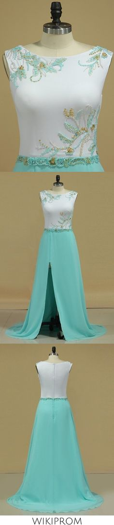 2019 A Line Scoop Prom Dresses With Beads And Slit Sweep Train Chiffon, This dress could be custom made, there are no extra cost to do custom size and color
