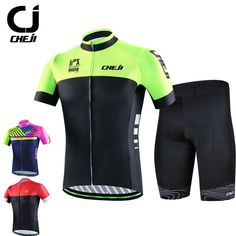 CHEJI 2017 Men's Cycling Clothing Short Sleeve Jersey Shorts Set Bike Wear Fit MTB road Bike Jersey Hommes Maillot de cyclisme