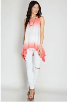 Sleveless Tunic with ombre dip dye. This top features a handkerchief hem. 70% cotton, 30% rayon. Non sheer.