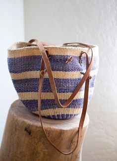 Need this to carry farmer's market bounty home.....vintage woven jute & leather bag