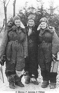 Soviet female pilots - Meklin, Aronova, Ryabova.