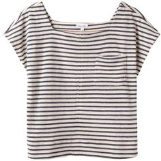 Steven Alan Solange Top ($58) ❤ liked on Polyvore featuring tops, t-shirts, shirts, tees, stripe t shirt, square neck t shirts, side slit t shirt, relaxed fit t shirt and stripe shirt