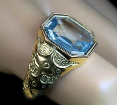 Antique 7 Ct Blue Sapphire Chased Gold Men's Ring - Antique Jewelry | Vintage Rings | Faberge Eggs