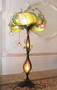 Get creative with Art Nouveau-inspired lightingBeautiful Tiffany lamp - girls fairy tale room - want fairy tale room for girls. Will never haveThings at homeArt Nouveau silver plated table lamp with monkey and loetz glass Arte Art Deco, Flower Lamp, Flower Tree, Flower Lights, Deco Design, Art Nouveau Design, Design Design, Home And Deco, Lampshades