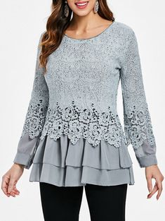 4b5278d0522 Lace Panel Long Sleeve Casual Top