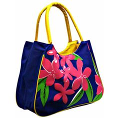 Blue Retro Floral Tropical Print Beach Bag ($13) ❤ liked on Polyvore featuring bags and handbags