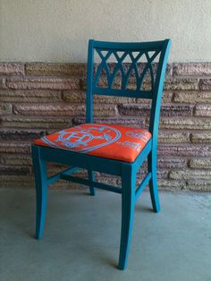 Up-cycled, Refurbished Painted Teal Hermes Upolstered Chair