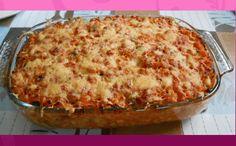 pasta-ovenschotel met kip, spek en courgette