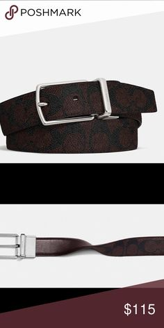 "🆕COACH Harness Cut-To-Size Reversible Sig Belt The iconic Coach harness belt returns, updated with the modern look of gunmetal hardware. Two different looks in one handsome design, Signature ""Brown/Mahogany"" PVC reversible to ""Mahogany"" smooth leather. It can be trimmed for a custom fit at home using a pair of scissors.  Leather Cut to size Reversible 30mm (W) Coach Accessories Belts"