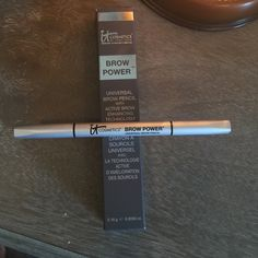 Nib IT Cosmetics brow power med brown to blk Universal brow pencil for medium brown to black hair. The oval shaped tip creates the most natural looking, well groomed brow and is perfect for both thin and thick brows. IT Cosmetics Makeup Eyebrow Filler