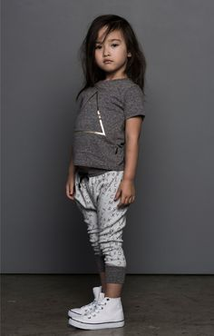 Huxbaby Lost Alphabet Drop Crotch Pants - A Little Bit of Cheek Toddler Girl Style, Toddler Girl Outfits, Toddler Fashion, Fashion Kids, Look Fashion, Toddler Girls, Outfits Niños, Kids Outfits, Amusement Enfants