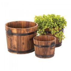Rustic Country Charm Aged Oak Apple Barrel Planter Pots Set of 3
