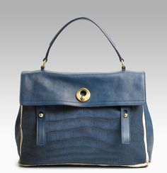 YSL Large Muse Two Purse in Blue