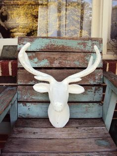 Shabby Chic Deer Head Mount Large Antlers Distressed Antique Off White Rustic Farmhouse Nursery Fren