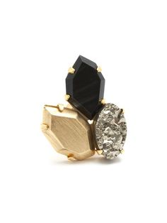 Gold, Pyrite, & Black Onyx Cluster Ring by Citrine by the Stones at Gilt Jewelry Box, Jewelry Rings, Jewelery, Jewelry Accessories, Fashion Accessories, Jewelry Design, Fashion Jewelry, Kitsch, Stone Gold