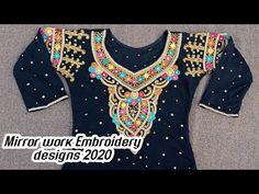 Shisha work dress, Shisha work kameez / kurti, Mirror work dress, Mirror work suits, Sindhi barth - YouTube Mirror Work Kurti, Mirror Work Dress, Work Suits, Designer Dresses, Embroidery Designs, Dresses For Work, Youtube, Fashion, Moda