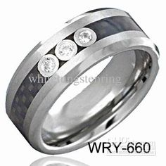 Tri Diamond &Amp;Black Carbon Fiber Wedding Bands For Men Tungsten Ring From Whitetungstenring, $106.02 | Dhgate.Com