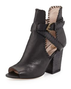 House of Harlow Minnie Whipstitch Cutout Bootie - Neiman Marcus