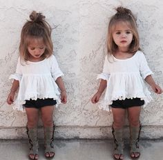 Cute baby bohemian style. Black Janie & jack top with orange bloomers & black gladiator sandals