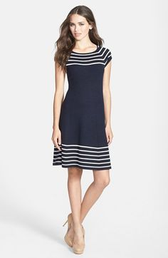Eliza J Stripe Knit Flared Dress at Nordstrom.com. Contrast stripes lend visual dimension around the neck and hem of a rich sweater-dress, further accentuating its clean fit-and-flare silhouette.