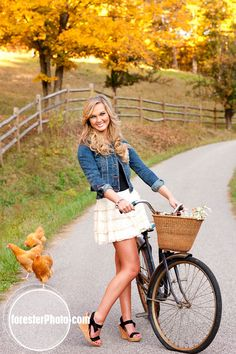 Love this idea with the bike as a prop and this cute outfit!- senior pic pose. Could have my puppy in the basket :)