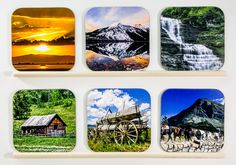 BEST SELLING ITEMS - Wooden Scenic coasters, set of 6, Bar, wood, most popular, Wedding Party Gifts, drinkware, home accents, man cave, 2 by PicturesFromHeaven on Etsy