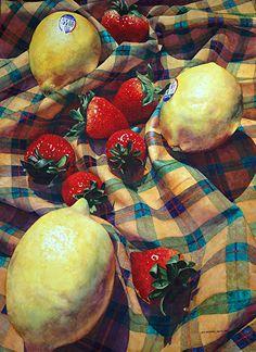Strawberry Alley by Chris Krupinski Watercolor ~ 30 x 22 Watercolor Food, Watercolor Paintings, Watercolour, Oil Paintings, Still Life Fruit, Fruit Painting, Painting Still Life, Fruit Art, Beautiful Paintings