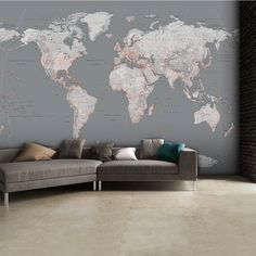 1Wall Detailed Silver Grey World Map Feature Wall Wallpaper Mural | 315cm x 232cm