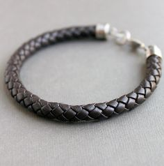 Mens Woven Brown Leather Bracelet with Sterling Silver clasp