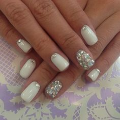 White & crystal bling nail
