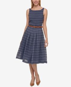 Tommy Hilfiger Belted Shadow-Stripe Dress, Only at Macy's | macys.com