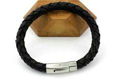 Lækkert herresrmbånd i blødt flettet læder i 8 mm tykkelse
