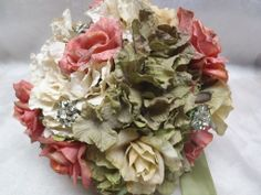 bouquet of brooches and silk flowers--pink, off white, olive green with rhinestones